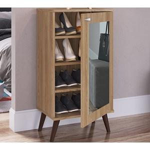 Sapateira Multiuso 01 Porta Com Espelho SP060 Oak Completa Moveis