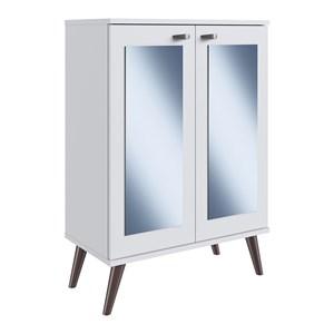Sapateira Multiuso 02 Porta Com Espelho SP070 Branco Completa Moveis