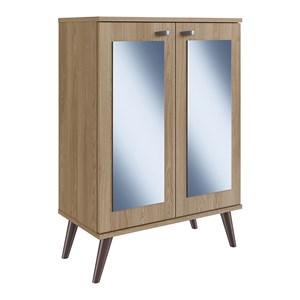 Sapateira Multiuso 02 Porta Com Espelho SP070 Oak Completa Moveis
