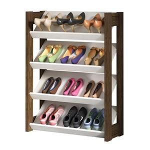 Sapateira Organizadora Para 12 Pares de Calçados AZ1025 Branco Nogal Tecno Mobili